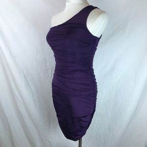 H&M Purple One Shoulder Rouched Mini Dress